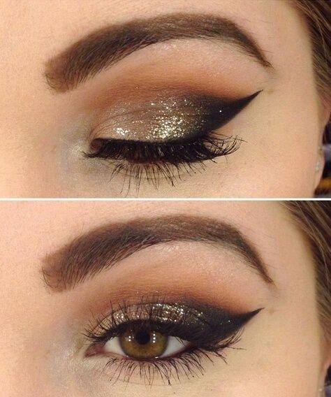 Maquillaje ojos en dorado para fiestas Navidad 2015
