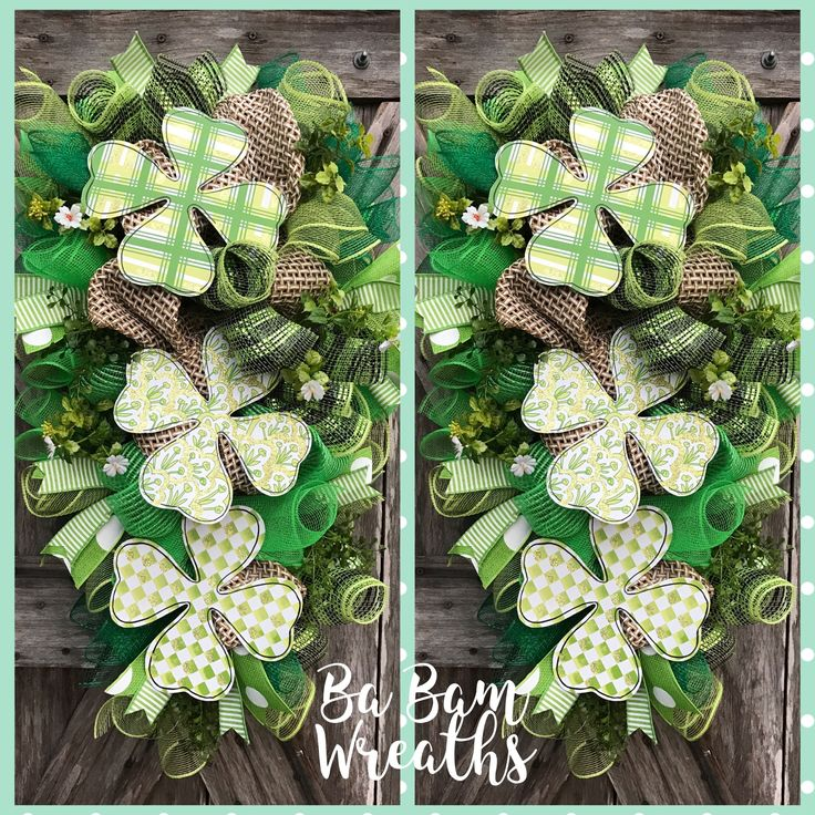 St Patrick Day Wreaths For Double Doors By Ba Bam