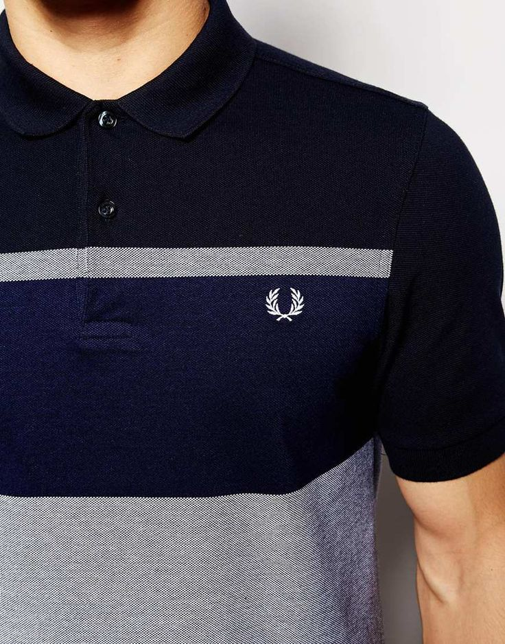 Image 3 of Fred Perry Polo Shirt with Block Stripe in Navy