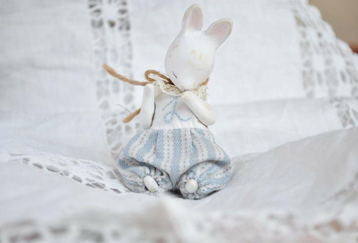 blue bunny art doll