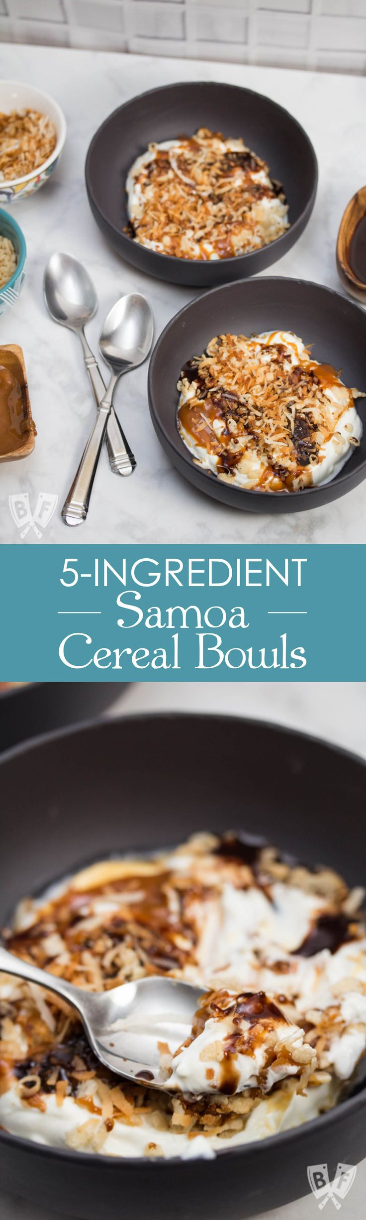 5-Ingredient Samoa Cereal Bowls: This quick & easy 5-ingredient Greek yogurt cereal bowl features toasted coconut + Rice Krispies - an ode to one of my favorite cookies, the Samoa! #ReimagineYourCereal #CollectiveBias #ad
