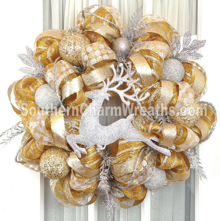 Gold Silver Theme Deco Mesh Wreath by www.southerncharmwreaths