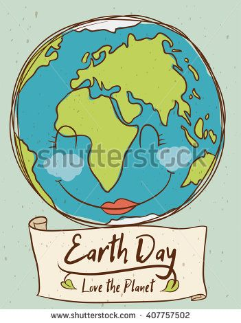 Cute smiling planet remembering you that is the Earth Day!