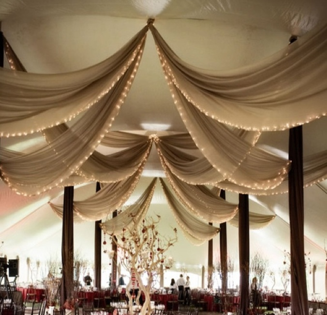 sheer draped fabric for tent ceiling