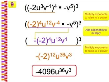 Simplifying Exponents - Worksheet with Powerpoint Solutions $