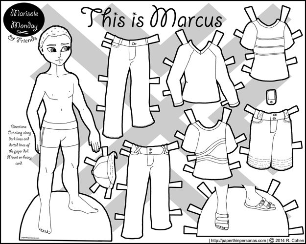 Printable paper doll coloring page of a young black man with casual contemporary clothing
