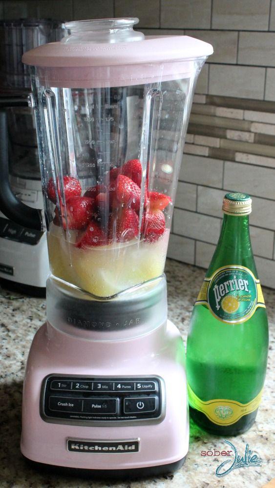 blending strawberry margarita