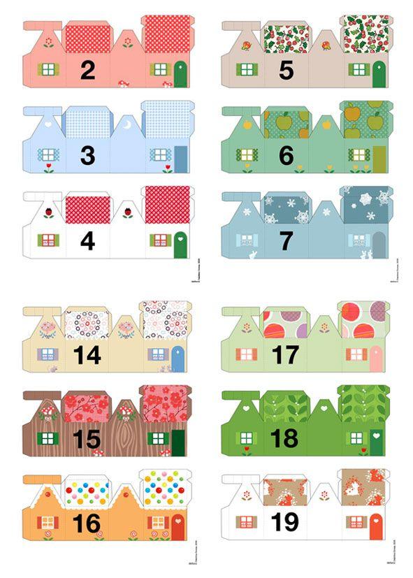 Link to 25 printable small houses--Christmas advent calendar