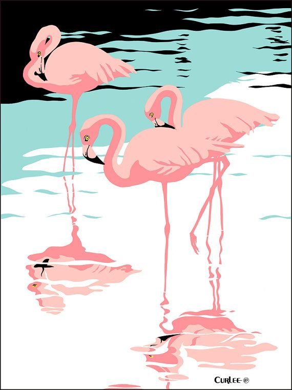 Pink Flamingo art Print, Tropical Bird Art Wall Art Retro Florida everglades, 1980 pop art, Beach Decor, Flamingo Poster, Flamingo Art Decor