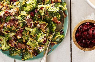 Broccoli and Cranberry SaladTry this tasty recipe from Ocean Spray. (use vegan bacon bits)