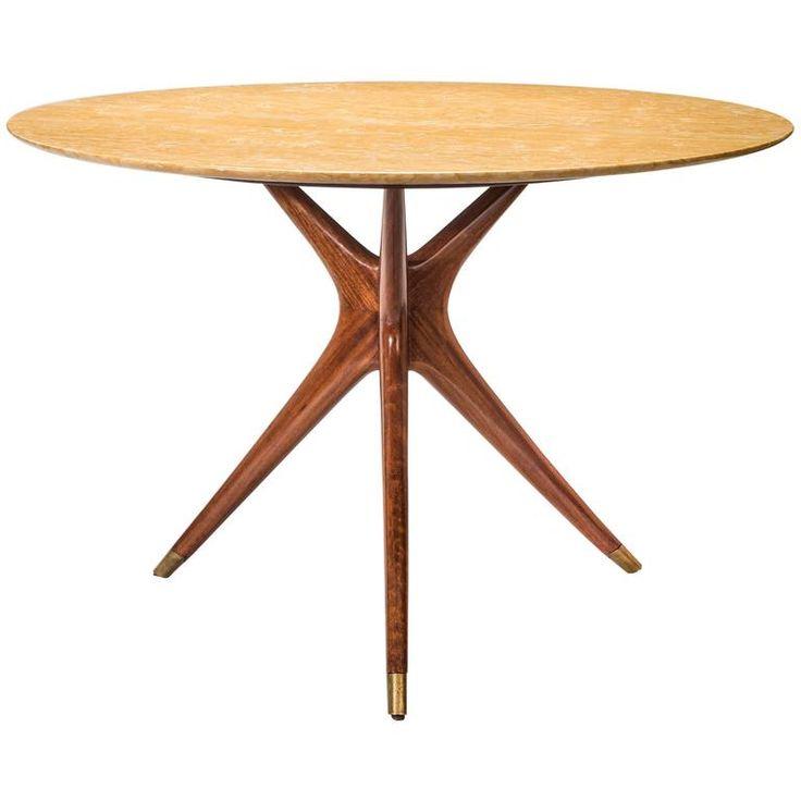 Ico Parisi, Italian Mahogany And Giallo Sienna Marble Circular Table
