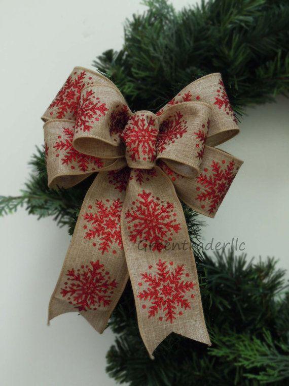 Snowflakes Christmas Burlap Wreath Bow by greentraderllc