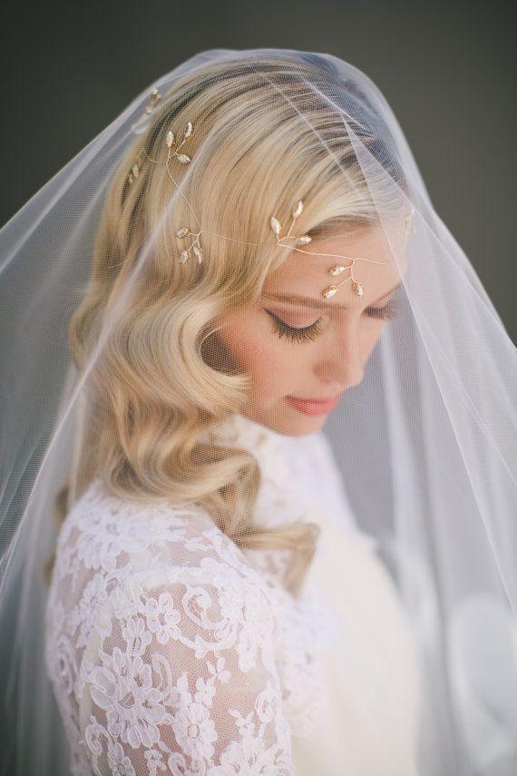 Dejar caer el velo de novia velo de tul Simple por VeiledBeauty