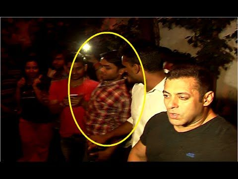 OMG ! Salman Khan's Bodygaurd PUSHES a fan trying to take a SELFIE with the Salman.