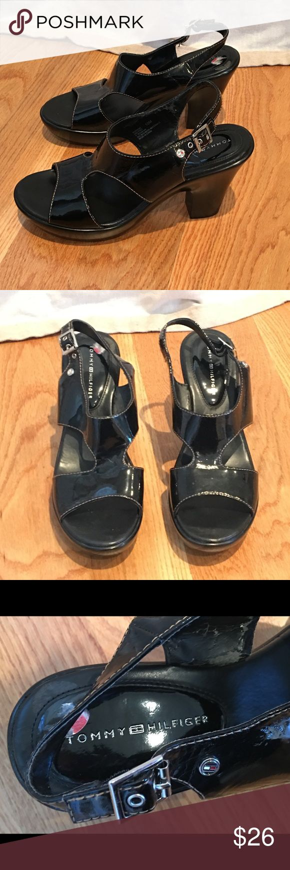 TOMMY HILFIGER Heels Great pair of black patent strappy open toe heels. Some scuffs and wear on heels and on inside of shoe...please see all photos! Tommy Hilfiger Shoes Heels