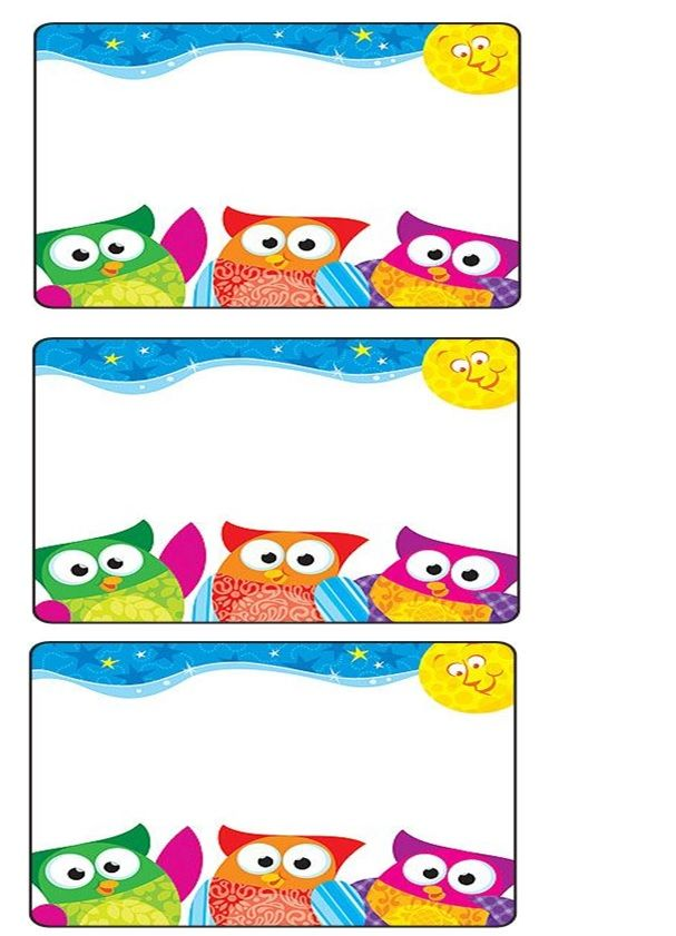 owl name tag Crafts and Worksheets