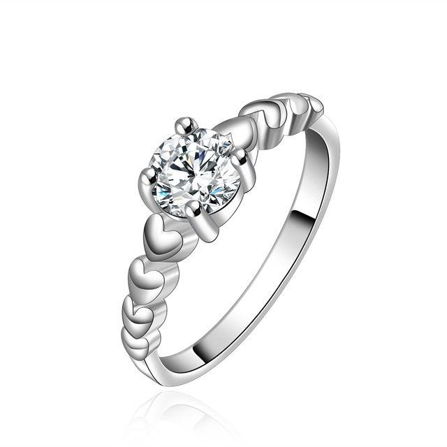 Высокое качество посеребренные и штампованные 925 малых гладкий в форме сердца с площади каменные кольца для женщин оптовая продажа свадебные jewerly продвижение