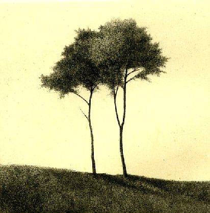 Standing on a Hill, 1994, drypoint etching, by Shigeki Tomura - I don't think this Tomura etching is on the board yet. S