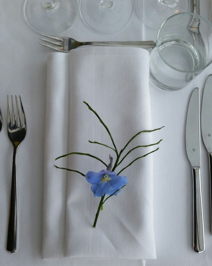 #Finland is blue and white - especially on a #snowy winter. That's why I was to #decorate #napkins with blue #delphinium flower and #Finnish #blueberry #twig. #Simple & beautiful.
