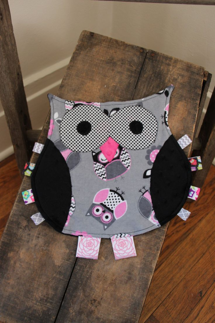 Best crib toys your baby - Owl Taggie Blanket Pink And Black Owls Security Blanket Texture Blanket Lovey Sensory Blanket Crib Toy Minky Blanket
