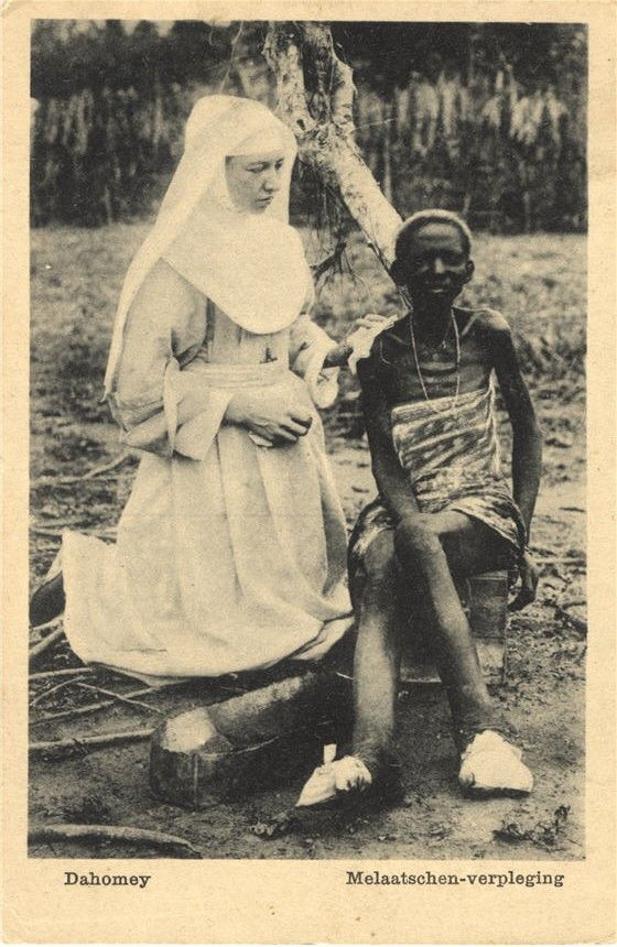 A Dutch Catholic nurse with a patient with Hansen's disease (leprosy), Dahomey (today Benin), ca. 1910. Pictures of Nursing: The Zwerdling Postcard Collection. National Library of Medicine