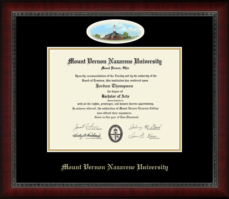 Mount Vernon Nazarene University - Campus Cameo Diploma Frame in Sutton with Black & Gold  Mats with Conservation UV + Reflection Control Glass