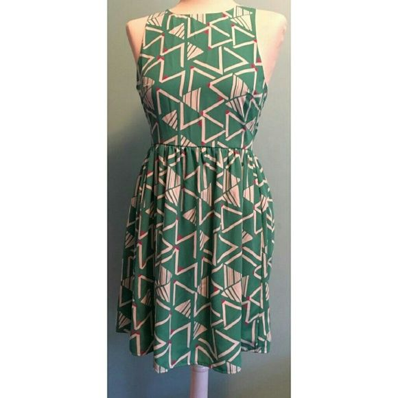 Green print dress New with tags Everly Dresses