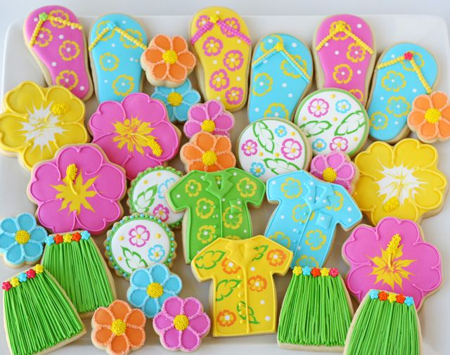 Bachelorette Party on the beach!  Glorious Treats » Grass Skirt and Flip Flop Cookies. So many cute treats. I'm going to be busy this week