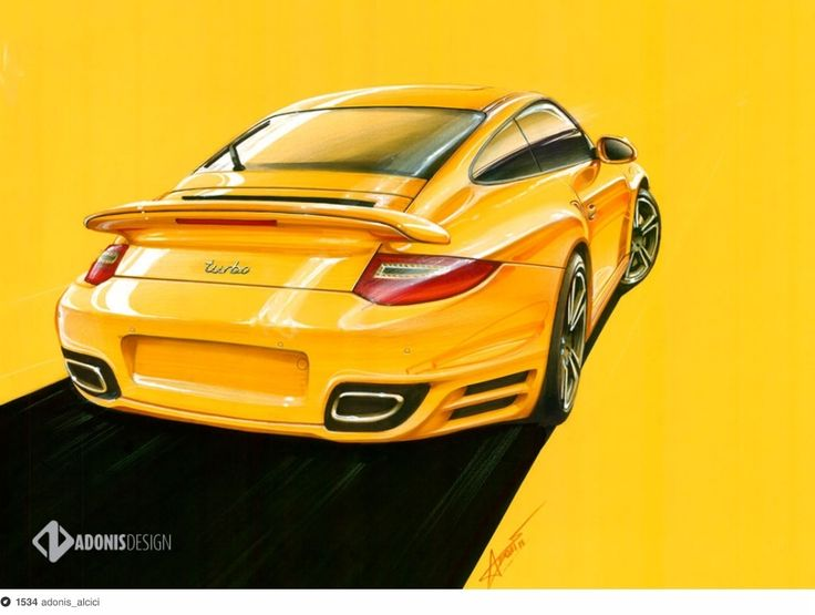 Porsche Turbo drawing made with Copic markers in A2 yellow paper by Adonis Alcici.  Video:http://youtu.be/SaOq0RyzQsU  Facebook page: http://www.facebook.com/adonis.designer