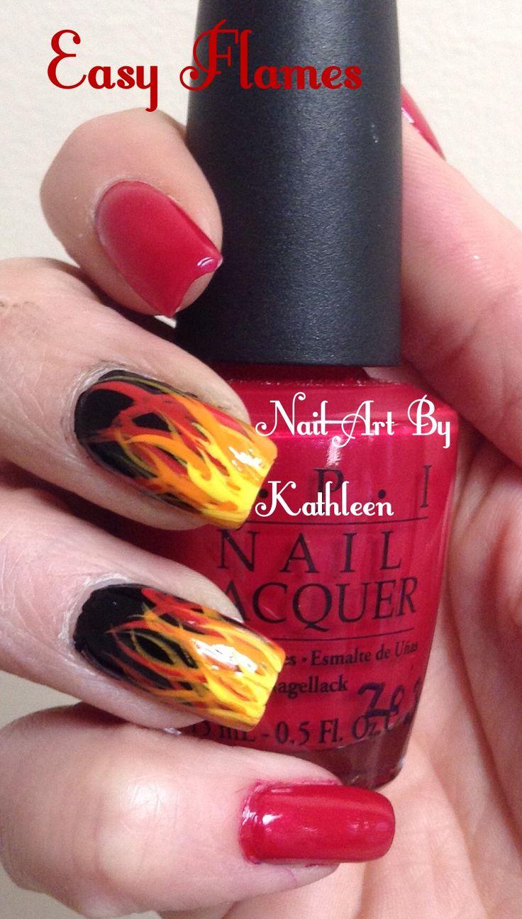 Fire Flames Nail Art Design