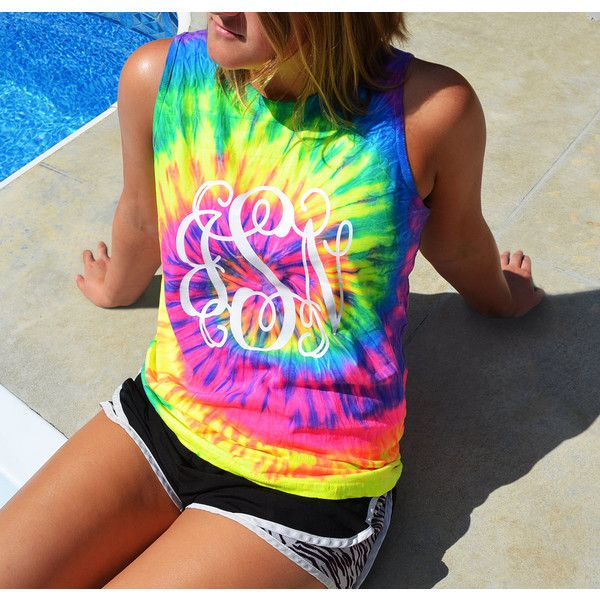 New Tye Dye Tank Top Tie Dye Tank Monogram Tank Top Monogrammed Tie... ($14) ❤ liked on Polyvore featuring tops, lime, tanks, women's clothing, tye dye shirts, embroidered shirts, long sleeve tie dye shirts, stitch shirt and tie die shirts