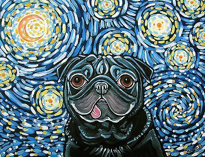 Starry Night Pug Dog Art by Melinda Dalke 35% donation to Mid-Atlantic Pug Rescue