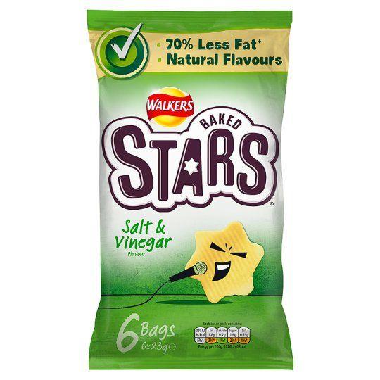 Walkers Baked Stars Salt And Vinegar Crisps 6X23g