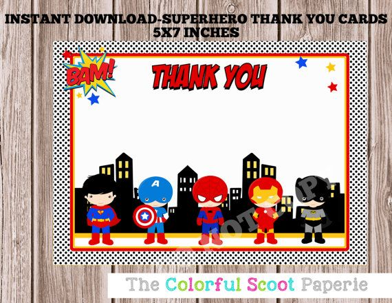 SUPERHERO THANK YOU CARDS-INSTANT DOWNLOAD {WHAT YOU ARE PURCHASING} This listing is for an INSTANT DIGITAL DESIGN ONLY. No physical