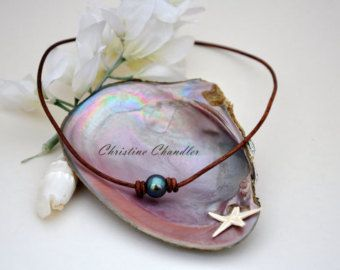 Leather Necklace Leather Jewelry Pearl and by ChristineChandler
