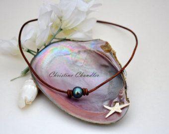 Collana gioielli in pelle perla e pelle di ChristineChandler