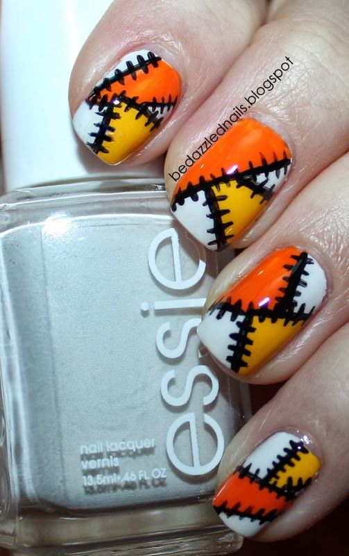 Bedazzled Nails: Halloween #nail #nails #nailart
