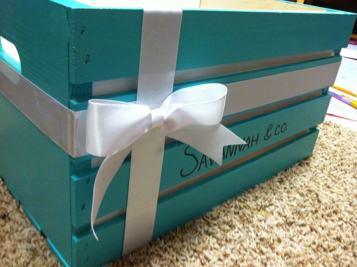 Tiffany and Co inspired crate...cute idea for living room to store blankets!!