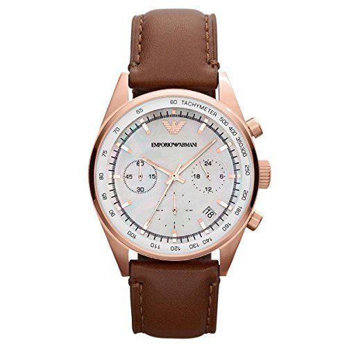 Emporio Armani Damen-Armbanduhr Chronograph Quarz Leder AR5996 - http://uhr.haus/emporio-armani/emporio-armani-damen-armbanduhr-chronograph