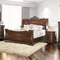 Furniture of America Luxury Brown Cherry Baroque-style Sleigh Bed (2 options available)
