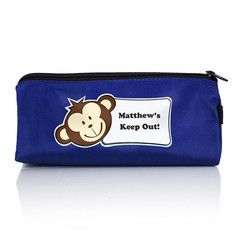 Blue Monkey Boys Pencil Case | Personalised | Absolutely Adorable