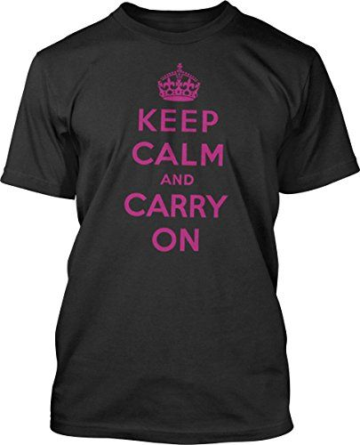 Big Texas Keep Calm and Carry On (Fuchsia) Fine Jersey T-Shirt Black