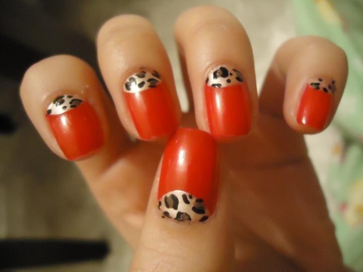 Half-moon Shellac nail art - red half-moon mani with leopard print