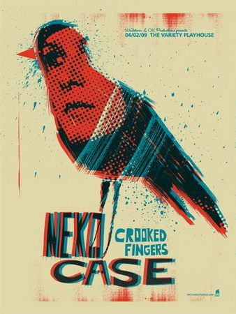 Concert Poster: Neko Case / Crooked Fingers ( graphic design / poster art / screen print / bird / music )