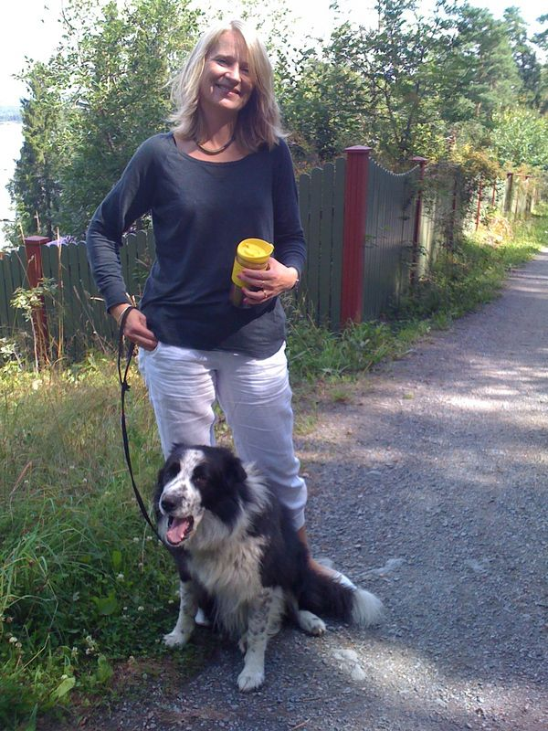 """Relaxing at Brønnøya with my sister's dog """"Pelle"""". This year I hope we'll get a dog of our own :)"""