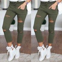 Mode Effen Kleur Hoge Taille Slanke Pasvorm Geribde Broek