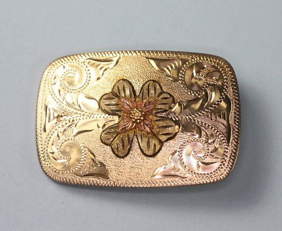 Vintage Belt Buckle Black Hills Gold 4 Leaf Clover Southwestern via Etsy