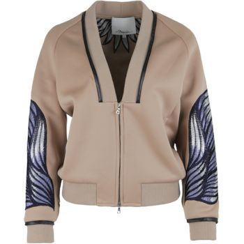 3.1 Phillip Lim Embroidered Neoprene Jacket in Beige #Bomber #Jacket #31PhillipLim