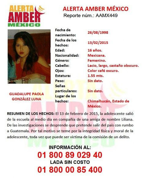 Activación Alerta Amber Guadalupe Paola González Luna (Edo Mex)