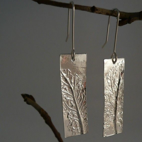Sterling Silver Botanical Rectangle Earrings on Etsy